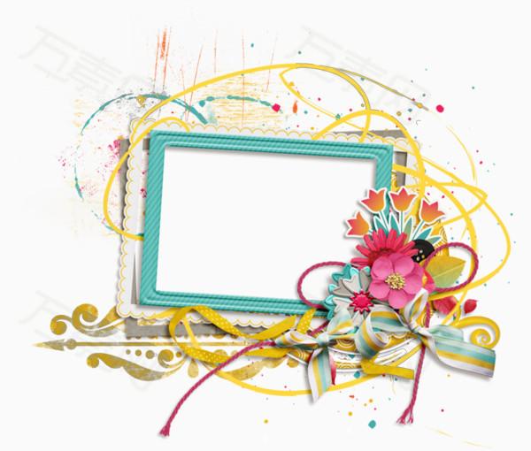 手绘花朵飘带装饰蓝绿色边框