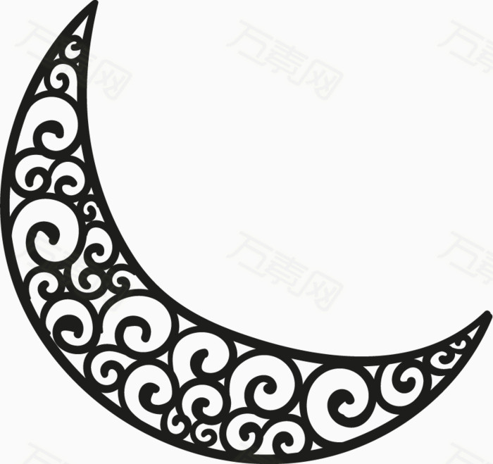 手绘花纹月亮