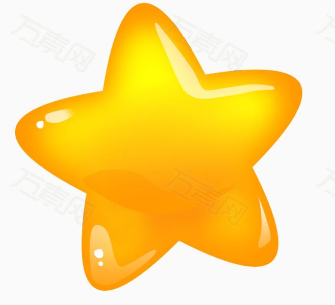 卡通星星  黄色  可爱  立体星星  星星矢量图