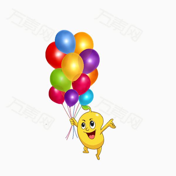 手绘拿气球卡通小人物
