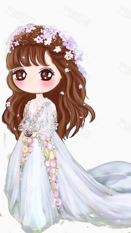 长发美女 卡通 手绘 美女 唯美 大眼睛 白裙子