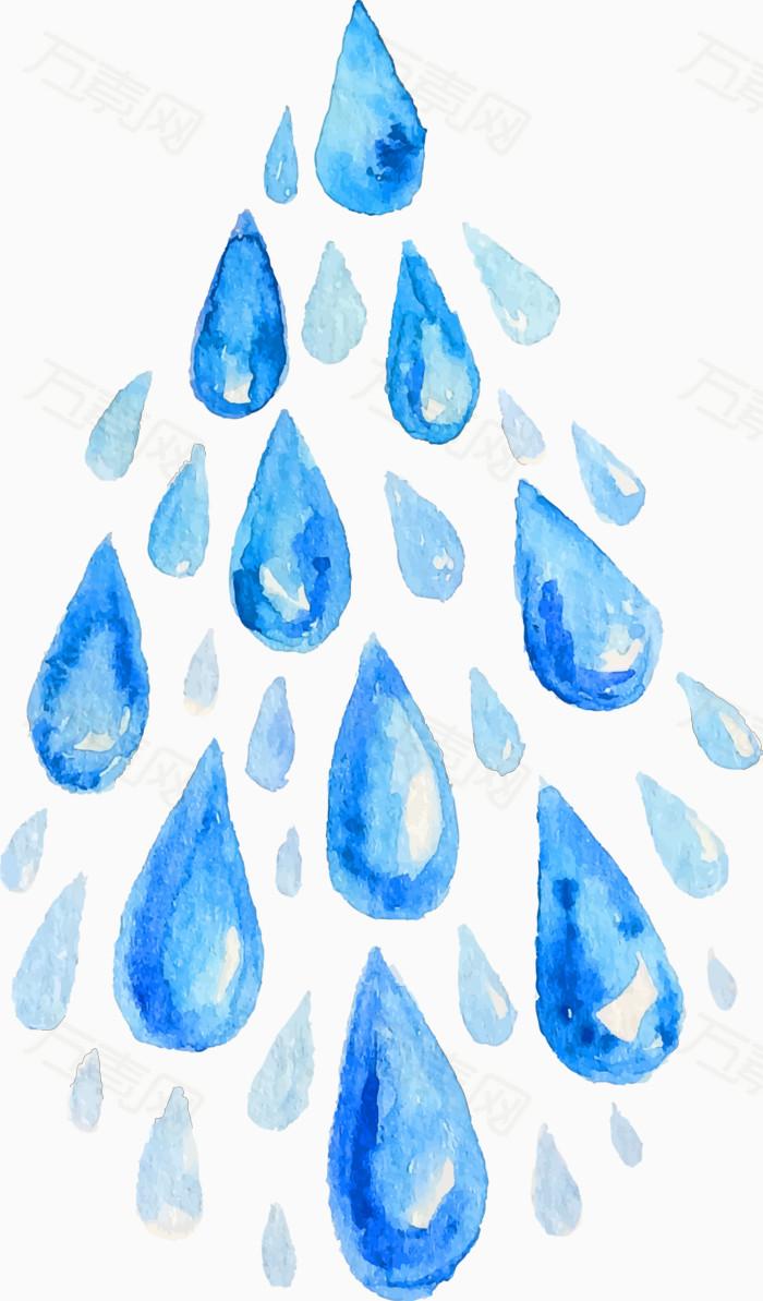 矢量手绘水彩水滴