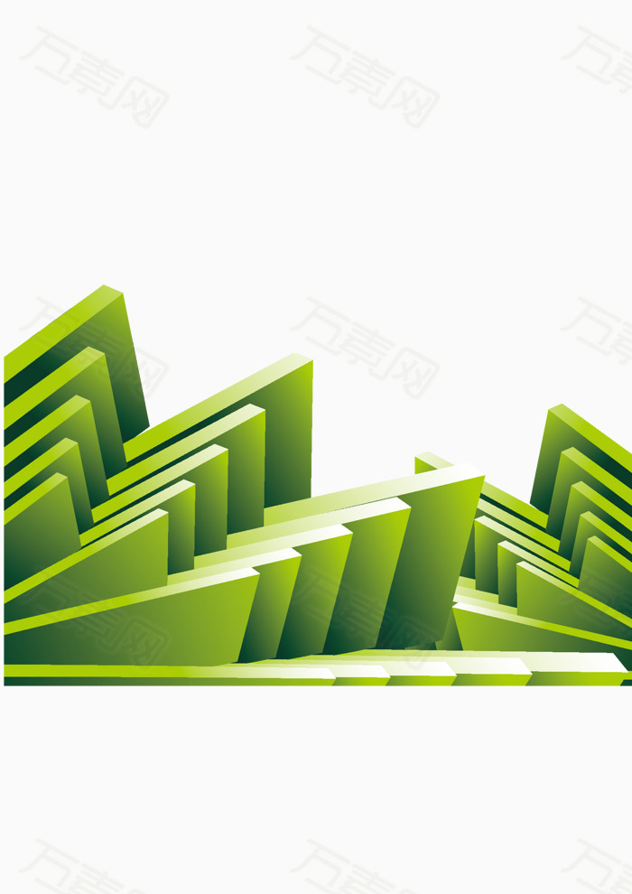 分享者私有, 万素网提供绿色组合块状三角形素材png设计素材,背景素材