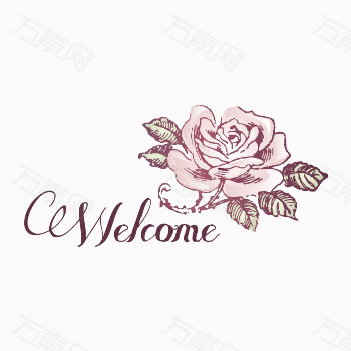 欧式古典复古手绘玫瑰花线稿