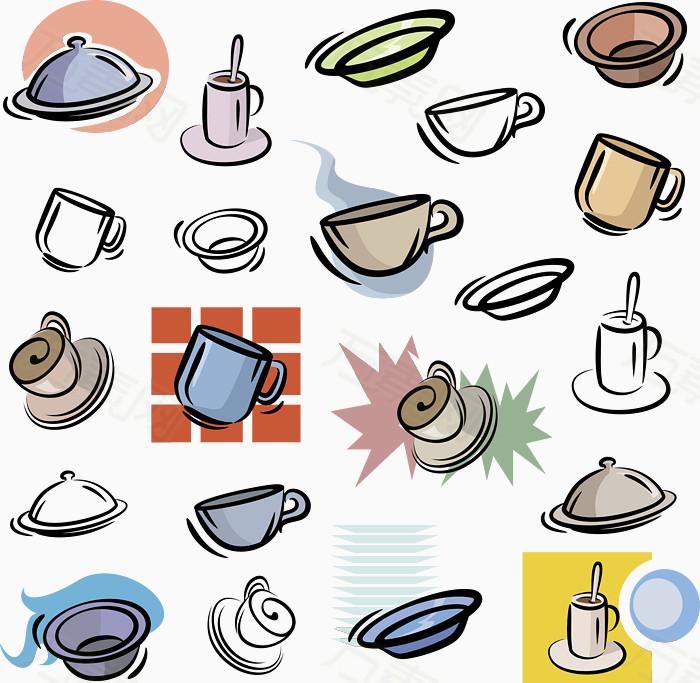 锅碗瓢盆手绘图标矢量图