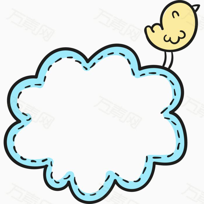 卡通手绘小鸟蓝色边框  万素网提供卡通手绘小鸟蓝色边框png设计素材