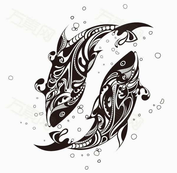 手绘线条鱼