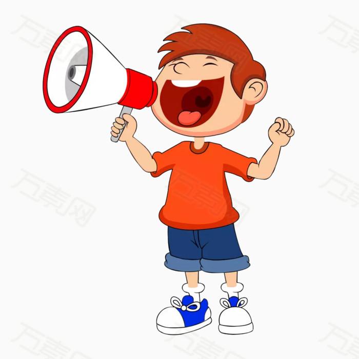 喊喇叭的小男孩图片