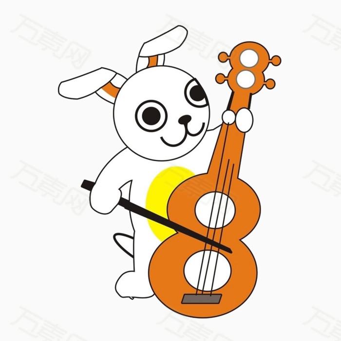 卡通 弹琴 拉琴 兔子 小动物 可爱 小兔子
