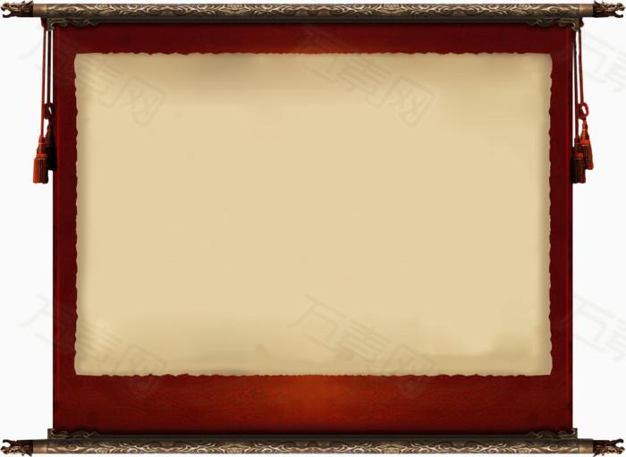万素网提供中国画卷书卷公告牌底板png设计素材,背景素材下载.