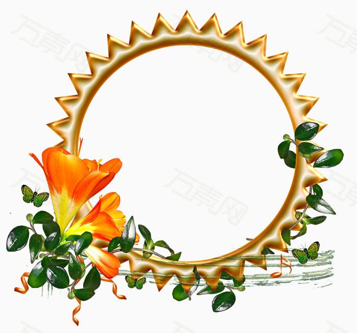 手绘素材边框图案 金色圆环边框花藤