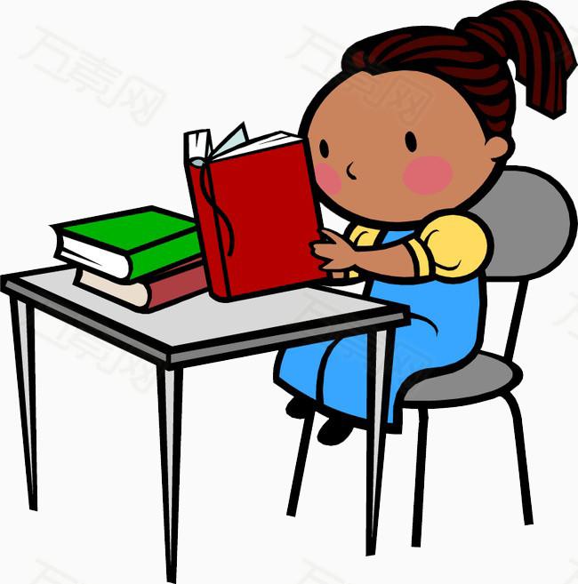 看书 小朋友 学习 卡通 图案 手绘 简笔画