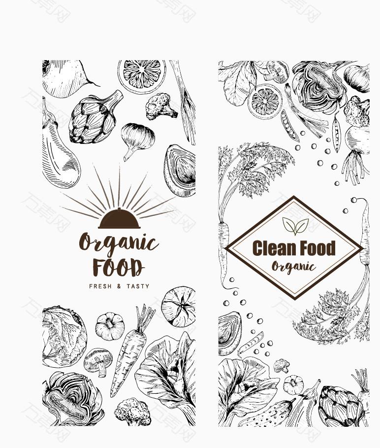矢量黑白餐厅菜单设计元素