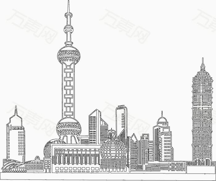卡通 手绘 上海 东方明珠 素材  黑白 高楼 地