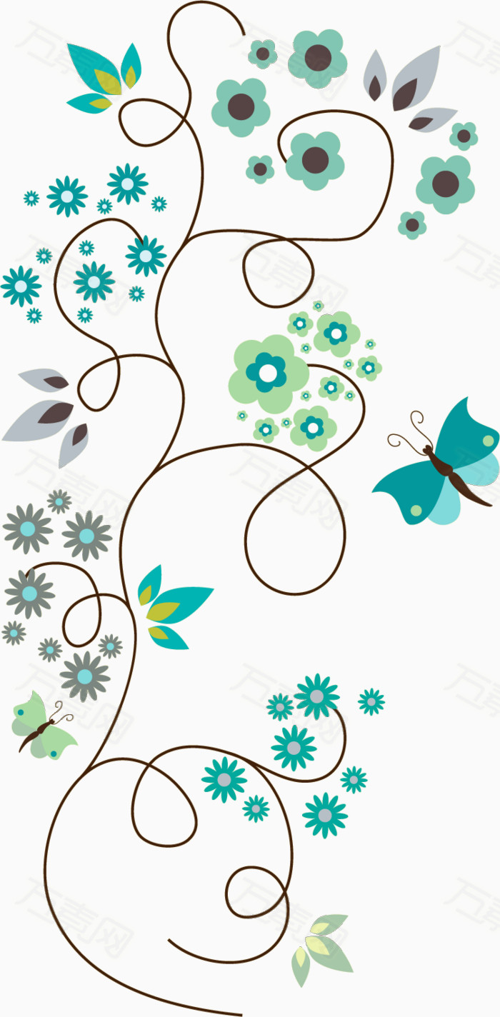 蝴蝶蓝色手绘线条花朵图片免费下载_花卉植物_万素网