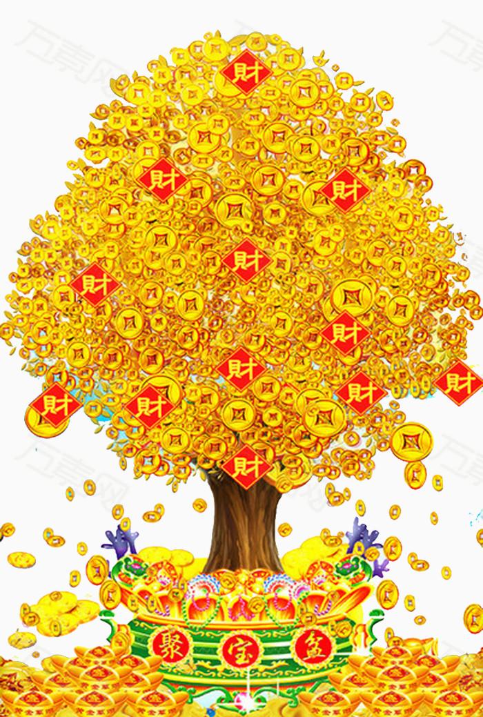 中国风吉祥寓意发财树招财进宝图片