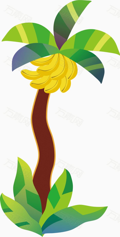 卡通香蕉树矢量图免费下载,,,矢量,,香蕉,,树叶,,植物,,卡通,,,矢量