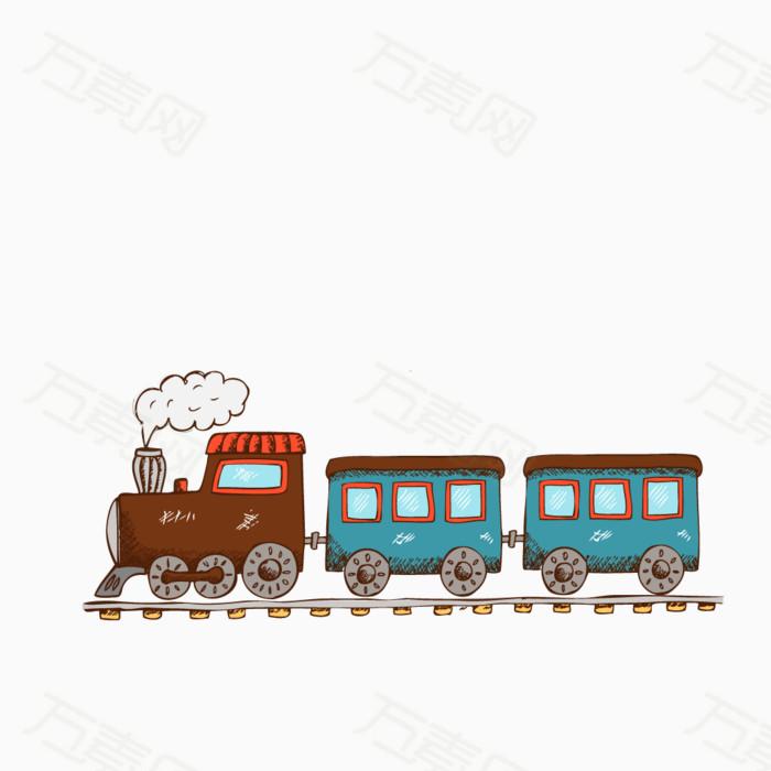 火车 开车 卡通 手绘