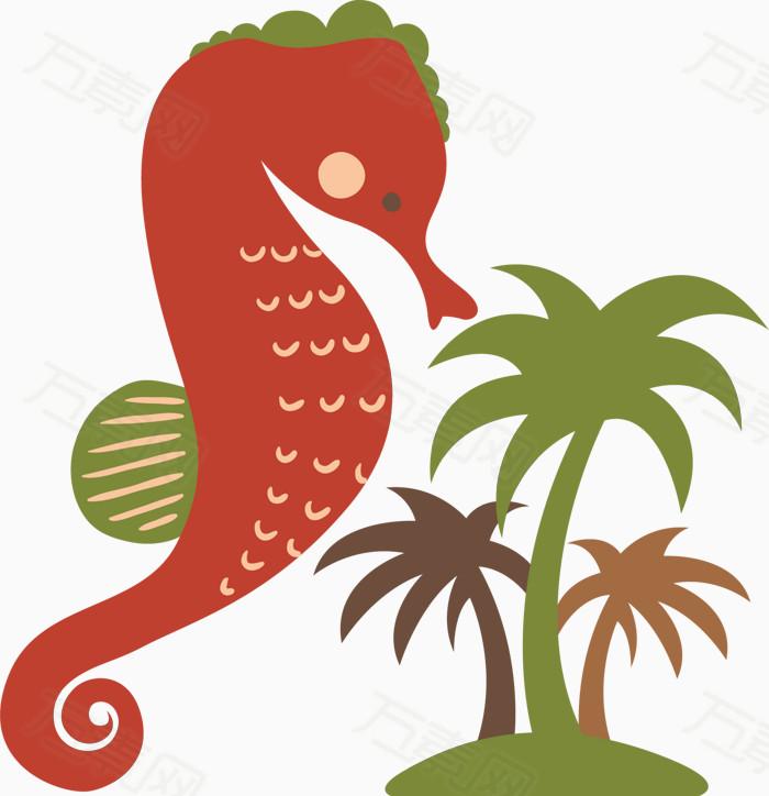 海马椰树简易画卡通手绘图标元素