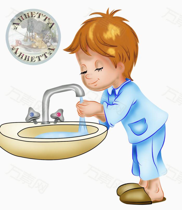 卡通手绘人物儿童洗手男孩