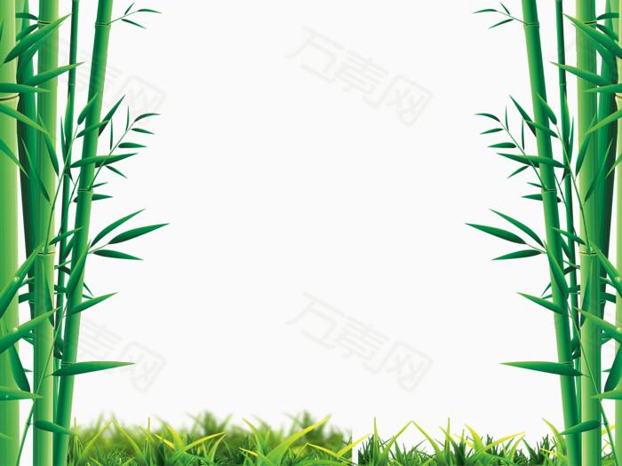 清新竹林草地素材背景