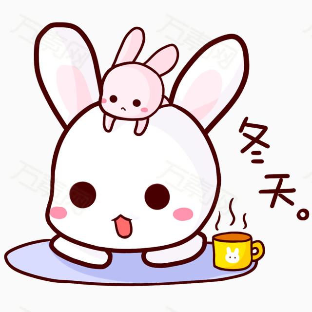 冬天小兔子白色图片免费下载_卡通手绘_万素网