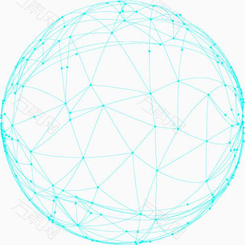 蓝色线框荧光科技球体