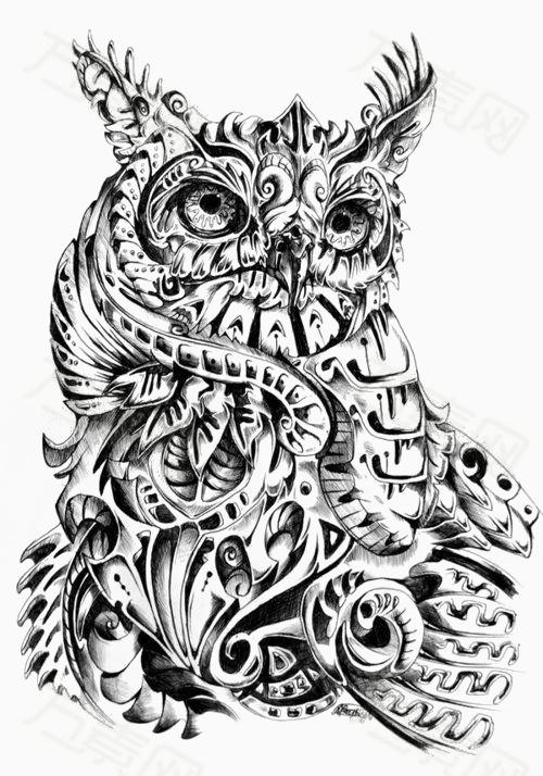 卡通动物 儿童画动物 手绘 插画 画画动物 装饰素材 黑白 花纹 猫头鹰