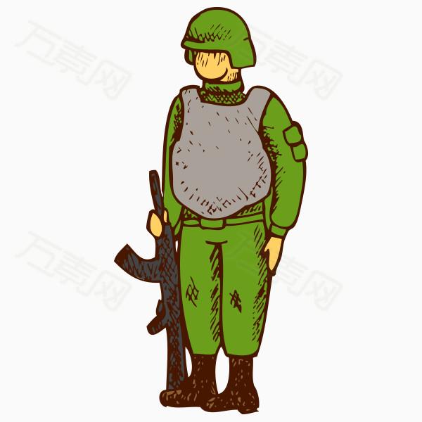 卡通手绘站岗军人