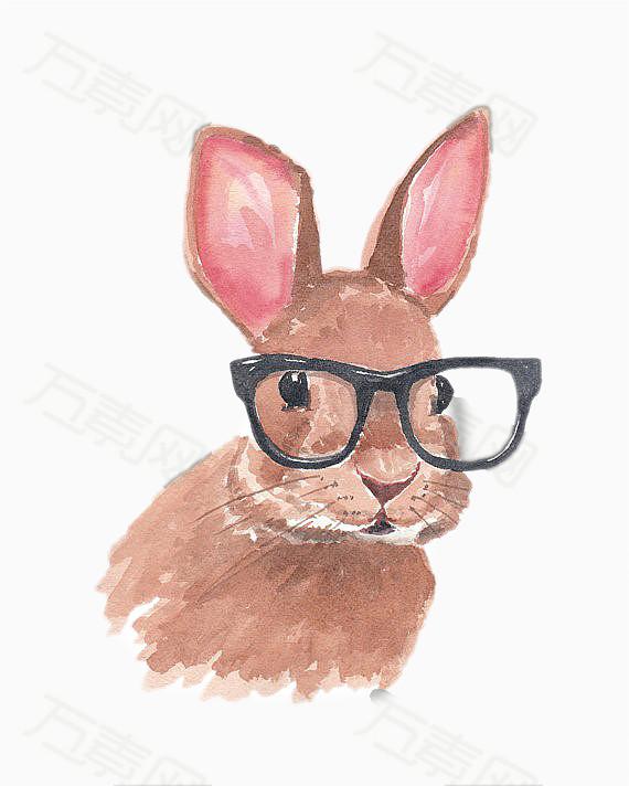 可爱卡通素材 棕色兔子 眼镜 水粉手绘