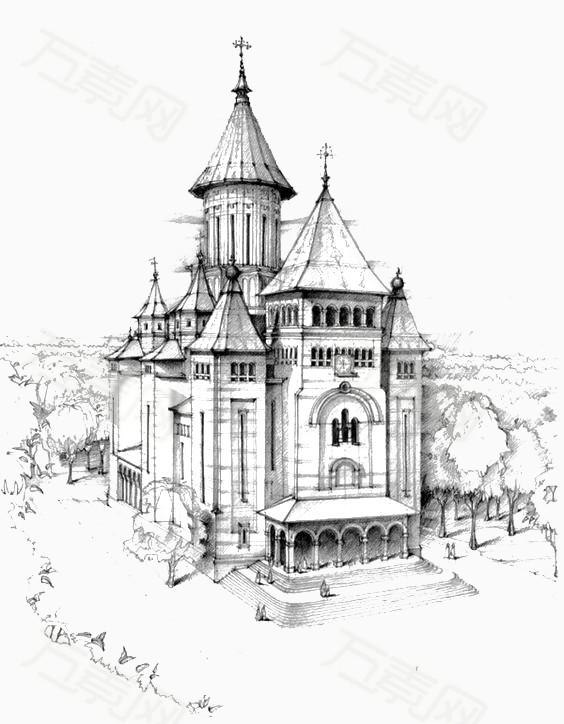 欧式复古城堡图片免费下载_卡通手绘_万素网