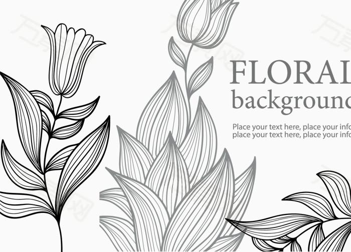手绘线条郁金香图片免费下载_花卉植物_万素网