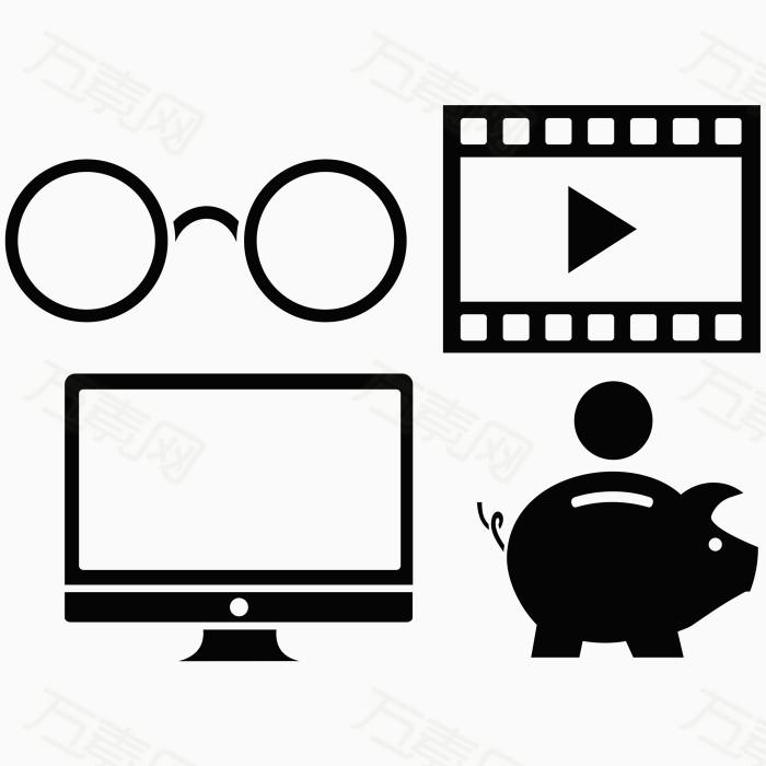 播放器 电视机 存钱罐 小猪 校园元素    线描  卡通  图标设计 扁平