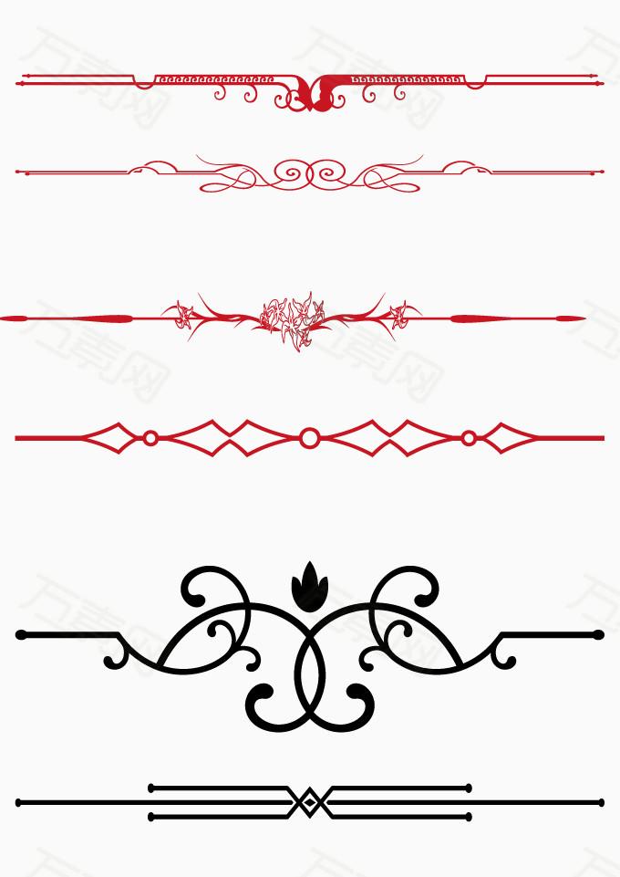 万素网 素材分类 矢量红色边框装饰线条