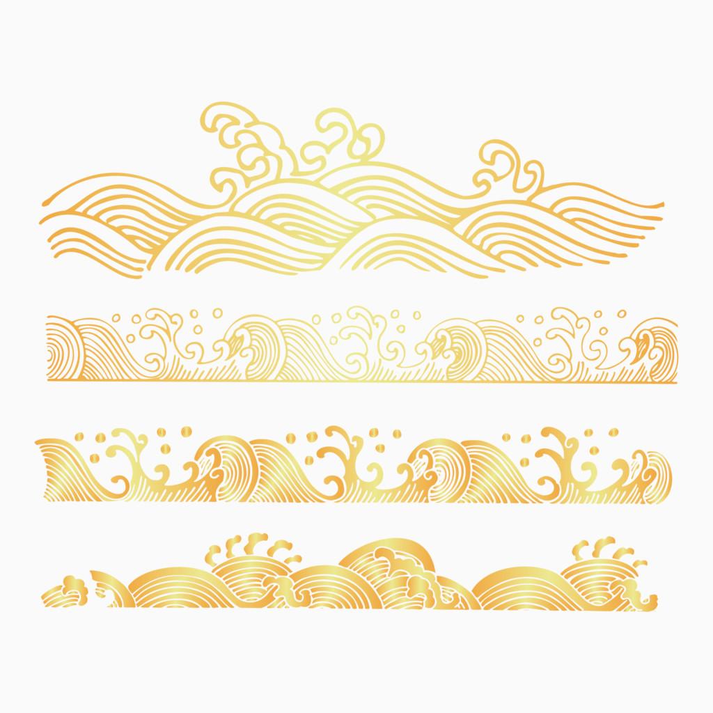 中国传统海浪波纹金色