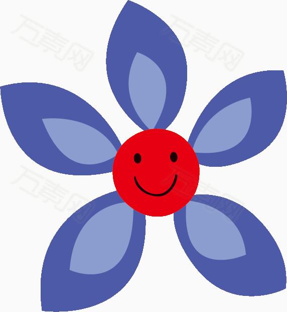 万素网 素材分类 蓝色花朵表情  6886