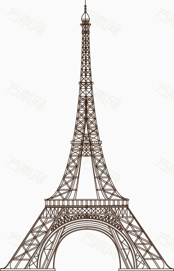 卡通手绘线条埃菲尔铁塔