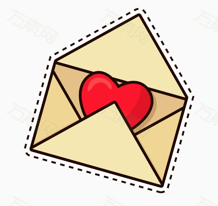 手绘爱心信封图片免费下载_卡通手绘_万素网图片