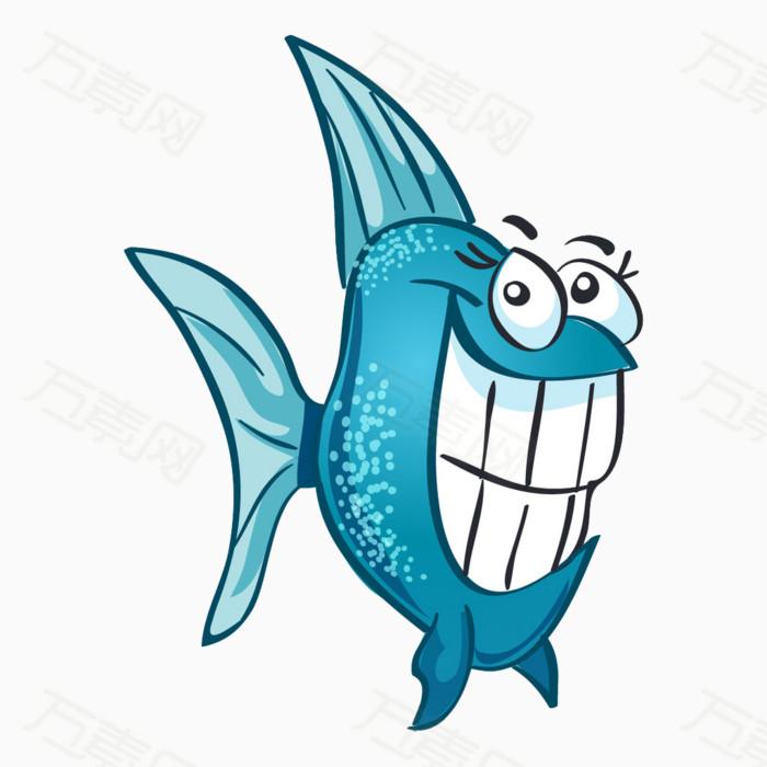 小鱼png 卡通素材 蓝色 可爱 手绘 简笔画