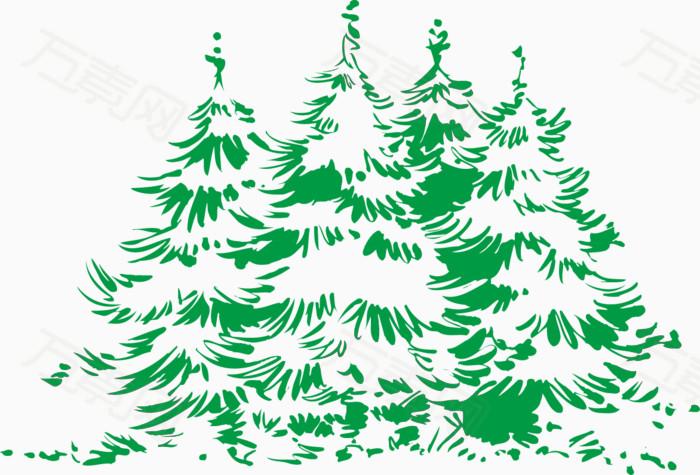 平面的手绘松树