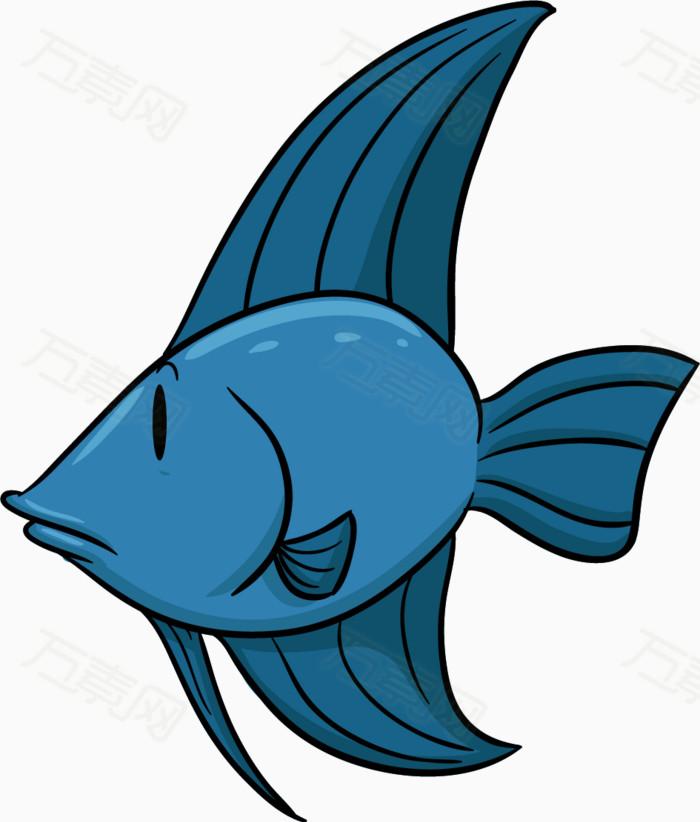 卡通手绘蓝色鱼