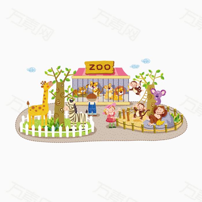 儿童节元素 动物园 卡通手绘 游乐场