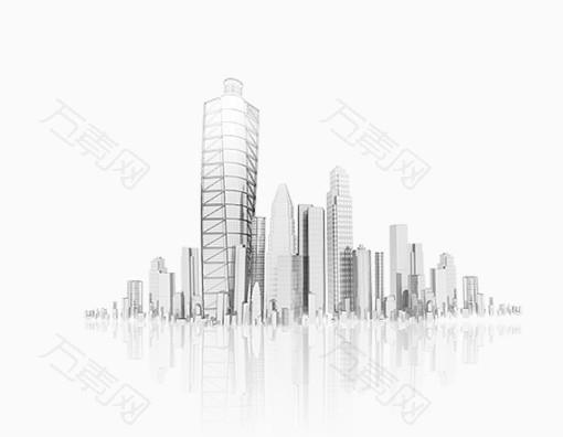 唯美精美城市建筑房子楼房倒影