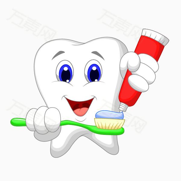 卡通手绘可爱的牙齿挤牙膏