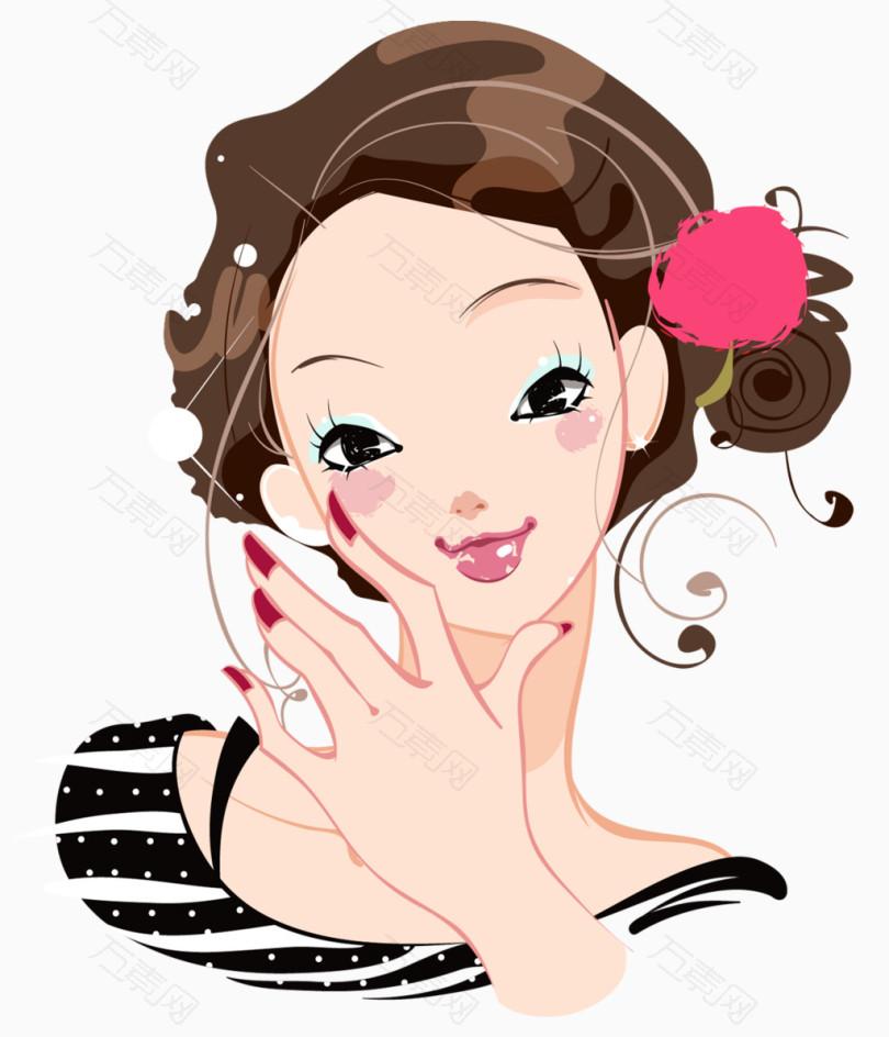 卡通时尚美女美妆美甲_卡通手绘_1024*1194px_编号图片