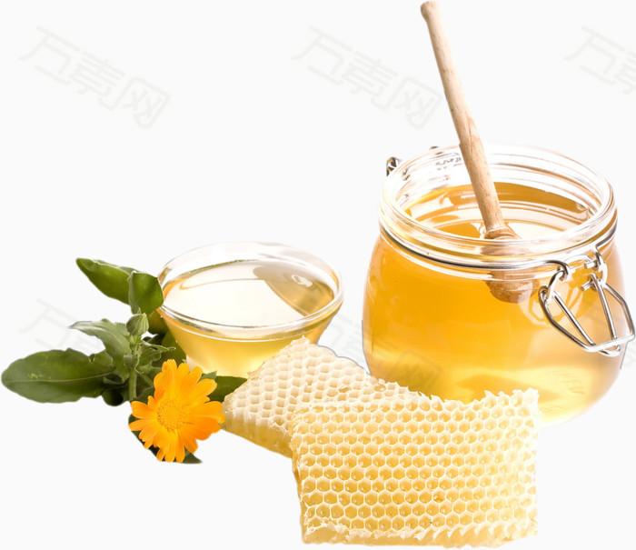 蜜蜂  蜂蜜罐  搅蜜棒  黄色  金色  菊花