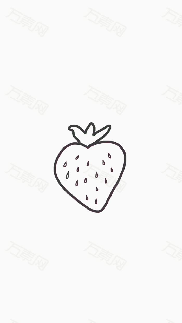 手绘黑白草莓