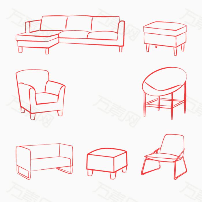 矢量家具简笔画图片免费下载_装饰元素_万素网