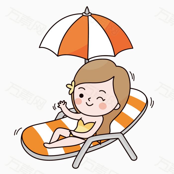 卡通手绘可爱女孩沙滩上晒太阳