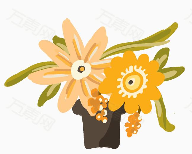 彩绘  鲜花  盆栽  水粉画  卡通手绘  浅黄色